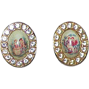 Vintage Porcelain Rhinestone Earrings