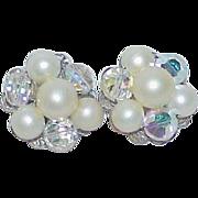 Vintage Faux Pearl Rock Crystal Bead Earrings
