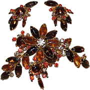 REDUCED Vintage BEAU JEWELS Autumn Colored Rhinestone Brooch Earring Set-Demi Parure