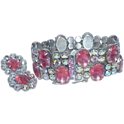 Vintage LA ROCO Pink Faceted Glass and Rhinestone Bracelet Earring Set-Demi Paarure