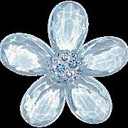 Vintage Lucite Rhinestone Flower Brooch