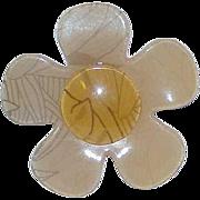 Vintage Lucite Flower Brooch