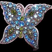 Vintage Blue Green Butterfly Brooch