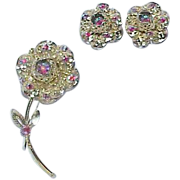 Vintage SARAH COVENTRY Aurora Borealis Rhinestone Flower Brooch Earrings Set - Demi Parure