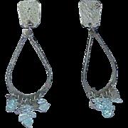 Vintage Artisan Large Hoop Earrings Aquamarine Beads