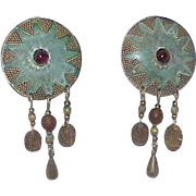 Vintage Dream Catcher Style Copper Clip Earrings