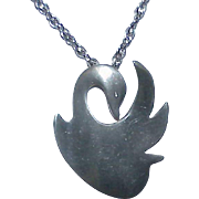 Vintage REED and BARTON Pewter Swan Pendent