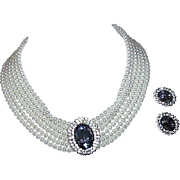Vintage Faux Multi Strand Pearl Necklace with Earrings and Focal Stone