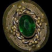 Vintage Art Deco Green Glass Stone Dress Fur Clip