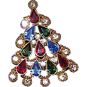 Vintage CHRISTOPHER RADKO Rhinestone Christmas Tree Brooch