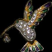 Vintage Rhinestone Enamel Hummingbird Brooch