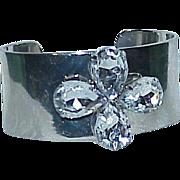 Vintage Silvertone Glass Stone Cuff Bracelet