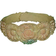 Vintage Celluloid Carved Child's Cuff Style Bracelet