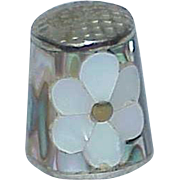 Vintage Abalone Mother of Pearl Metal Thimble