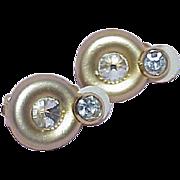 Vintage Elegant Satin Finish Rhinestone Earrings