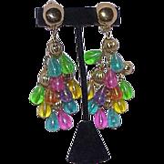 Vintage Fruit Salad Dangle Statement Earrings