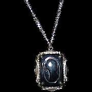 Vintage Elegant Black Art Deco Cameo Pendant on Sterling Chain