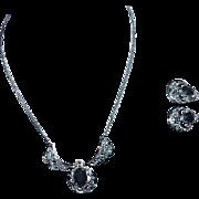 Vintage WESTERN GERMANY Black Jet Lavaliere Necklace Earrings - Demi Parure