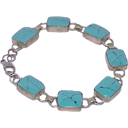 Vintage Sterling Silver Turquoise Articulated Bracelet