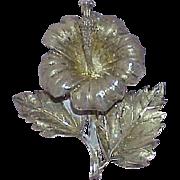 Vintage STERLING Art Deco Flower Brooch