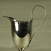 Antique, Helmet Shaped Silver Creamer, circa 1873