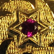 """SOLD Stunning! """"Stars & Moon"""" Seven Rubies with 18K Yellow Gold Bangle Bracelet"""