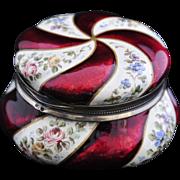 ANTIQUE & SPLENDID  Viennese, Silver with Gilt Red Enamel Casket, circa 1840