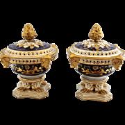 SOLD *SALE EXCEPTIONAL!  English Derby Porcelain Pot Pourri Mantle Urns
