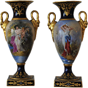 Pair of Carl Theime Dresden Oviform Mantel Urns,circa 1870.