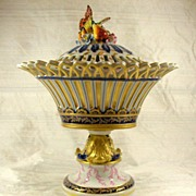 SOLD 19th Century Hand-Painted Sevres Style Potpourri Pedestal Vase and Cover