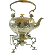 Superb! Circa 1800  Elkington Tilting Silver Plate Water Kettle with Lamp-Stand