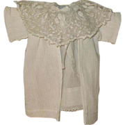 White dress and coat for antique doll