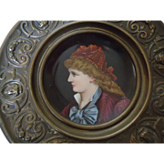 Lovely Porcelain Portrait Plate in Ornate Metal Frame