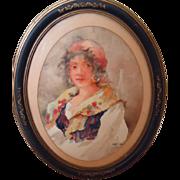 Beautiful Dated 1925 Original Watercolor of a Gypsy Girl