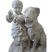 "Lovely Parian Statue of Child with her Dog, ""Don't be greedy"""
