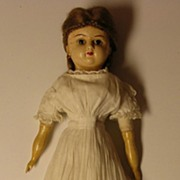 "REDUCED 22"" Wax Over Papier Mache Doll with Original Clothing"