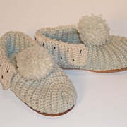 SALE PENDING Knit Wool Slippers with Leather Soles