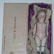 """SALE 6"""" All Bisque Doll with Original Wig"""