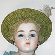 SOLD Green Straw Doll Hat