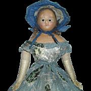"15"" Civil War Era Wax-Over Doll with Wardrobe"