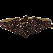 Outstanding Victorian Era Garnet Bangle Bracelet with Vibrant Garnet Red Color