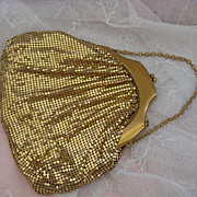 Vintage Gold Mesh Whiting and Davis Evening Bag Purse