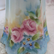 Vintage Porcelain Hand Painted Hat Pin Holder with  Forget Me Nots and Big Rose Bloss