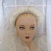 SOLD Gorgeous Vintage 1940s Tulle Satin Beaded Lace Wedding Veil - Red Tag Sale Item
