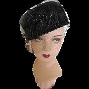 SALE PENDING Vintage Black Sequin Hat