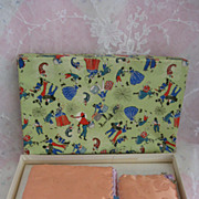 SALE PENDING Hanky Holder and Sachet in Box Embellished with Metallic Adorned Ribbon Roses or