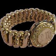 Victorian Locket Bracelet Gold Filled Rosy Colored