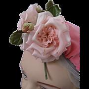 SALE PENDING Fabulous Vintage Pink Roses Embellish Vintage Velvet Pink Hat