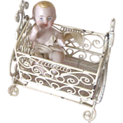 All Bisque Antique Baby in Vintage Metal Cradle