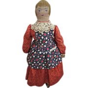 Circa 1890s American Oil Painted Rag Doll